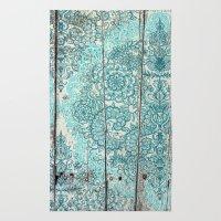 Teal & Aqua Botanical Doodle on Weathered Wood Rug