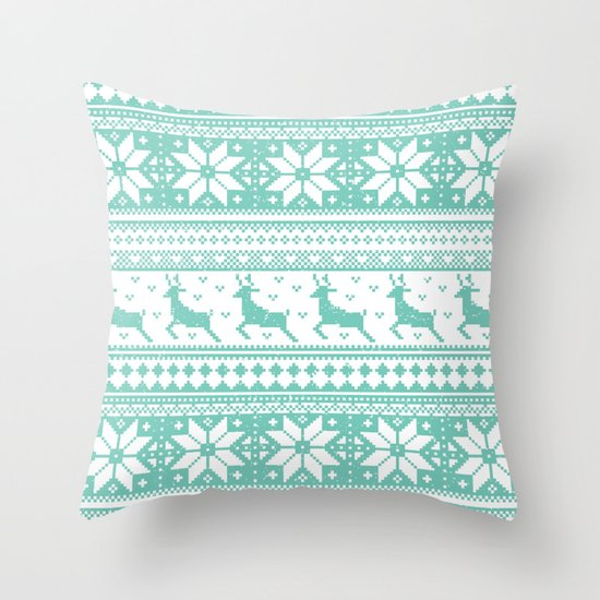 Reindeer Sweater Throw Pillow