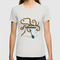 Octopus In A Teacup Womens Fitted Tee Silver SMALL