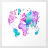 Modern World Map Globe B… Art Print