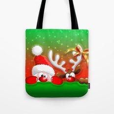 Funny Christmas Santa and Reindeer Cartoon Tote Bag
