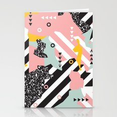 Spliced Geometric Memphis Pattern Geo Stripes Stationery Cards
