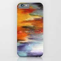 iPhone & iPod Case featuring Abstract sunset over the water by Liz Moran