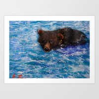 Wildlife Painting Series 5 - Alaska Little Brown Bear swimming in Icy lake Art Print