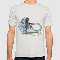 Elephant Shower Mens Fitted Tee Silver SMALL