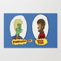 Frankenstein vs Wolf-man Canvas Print