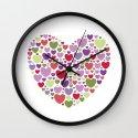 Colourful Hearts Wall Clock