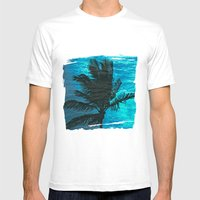 Swimming Palm Mens Fitted Tee White SMALL