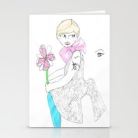 Girl with big bow Stationery Cards