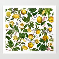 LEMON TREE White Art Print
