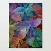 Colored Leaf Pattern 2 Canvas Print