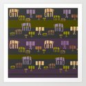 elephant walk woodblock print Art Print