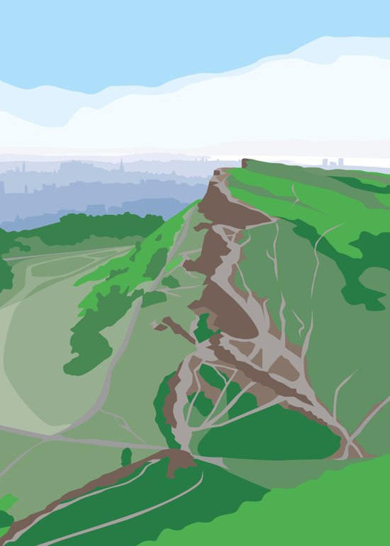 Salisbury Crags and Edinburgh from Arthur's Seat Art Print