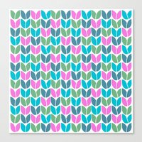 Tulip Knit (Teal Pink Blue Green) Canvas Print