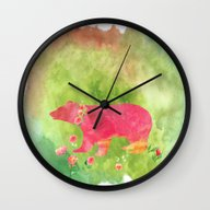 Baer  With Flowers I Wall Clock