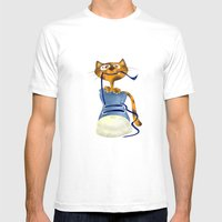 Cat Slipper Mens Fitted Tee White SMALL