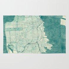 San Francisco Map Blue Vintage  Rug