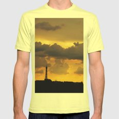 Sunset over Paris Mens Fitted Tee Lemon SMALL