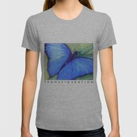 Blue Butterfly: Transfig… Womens Fitted Tee Athletic Grey SMALL