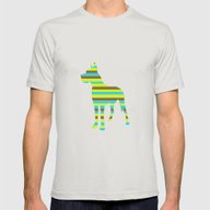 Great Dane Stripes Mens Fitted Tee Silver SMALL