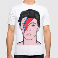 David Bowie Mens Fitted Tee Ash Grey SMALL