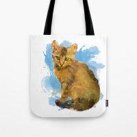 Watercolor and splatter Cat Tote Bag