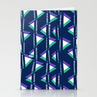 Blue & Green triangles Stationery Cards