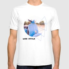 Mod Style in Blue SMALL White Mens Fitted Tee