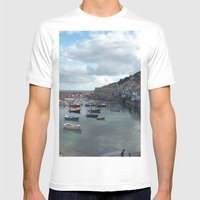 Mousehole, Cornwall Mens Fitted Tee White SMALL