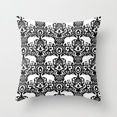 Elephant Damask Black and White Throw Pillow