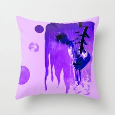 My son is a  GUITAR GOD - blue Throw Pillow