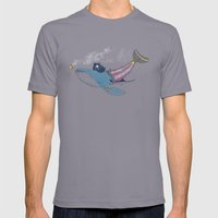 Pirate Whale Mens Fitted Tee Slate SMALL