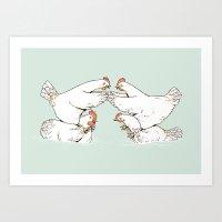 Chicken Fight Art Print