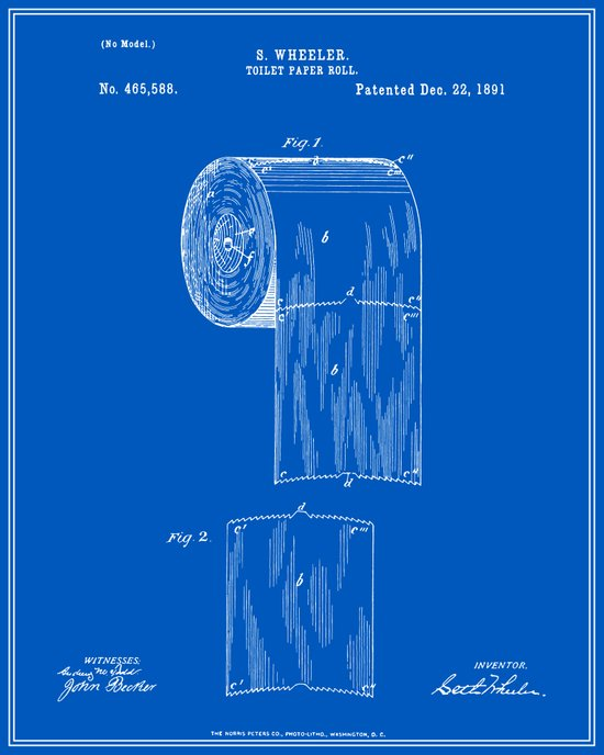 Toilet Paper Roll Patent Blueprint Art Print By Finlay