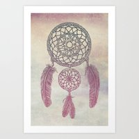 Double Dream Catcher (Rose) Art Print