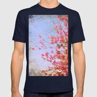 Pink Blossom Mens Fitted Tee Navy SMALL