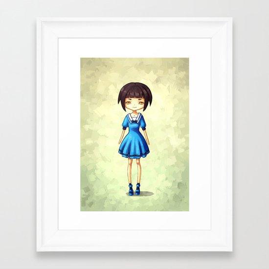 Girl in Blue Framed Art Print