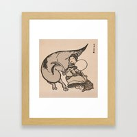 Geisha & Hadrosaure Framed Art Print