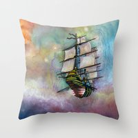 Mike's Tall Ship Throw Pillow