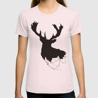 Oh My Deer Womens Fitted Tee Light Pink SMALL