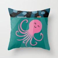 Throw Pillow featuring Octopus Selfie at Night by Mouki K. Butt