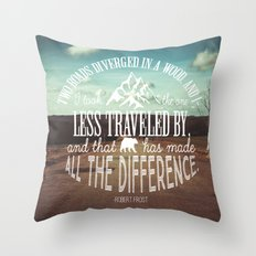 The Road Not Taken book quote Throw Pillow