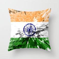 India Flag - Extrude Throw Pillow