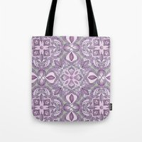 Lavender & Grey - Colored Crayon Floral Pattern Tote Bag