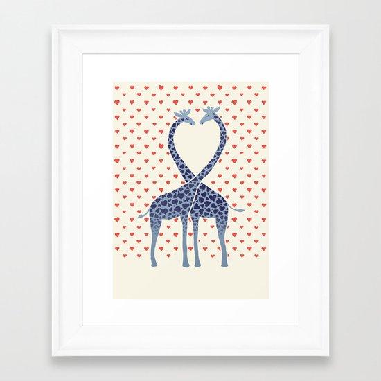 Giraffes in Love - a Valentine's Day illustration Framed Art Print