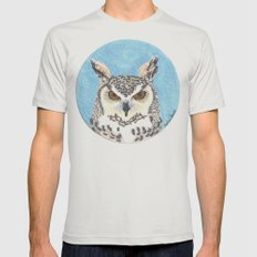 great horned owl Mens Fitted Tee Silver SMALL