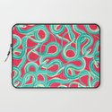 Turquoise Red Cool Abstract Wild Snakes Painting Laptop Sleeve