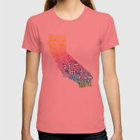 Typographic California - Springtime Womens Fitted Tee Pomegranate SMALL