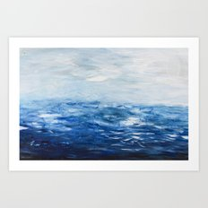 Paint 10 abstract water ocean seascape modern painting dorm room decor affordable stretched canvas Art Print