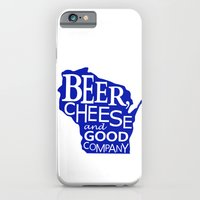 Blue and White Beer, Cheese and Good Company Wisconsin Graphic iPhone 6 Slim Case